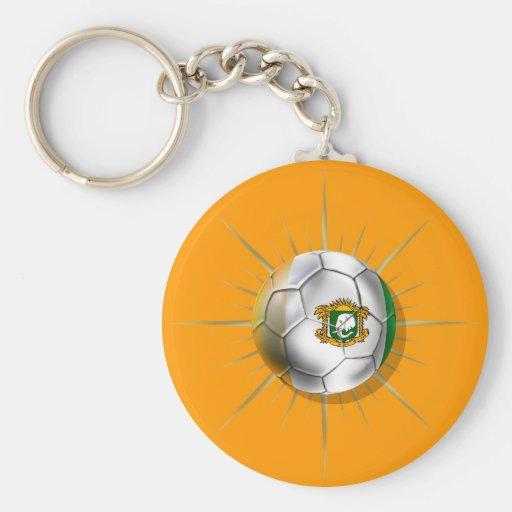Côte D'Ivoire Soccer Starburst Keychain