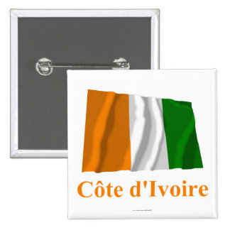Cote D'Ivoire Waving Flag with Name in French 15 Cm Square Badge