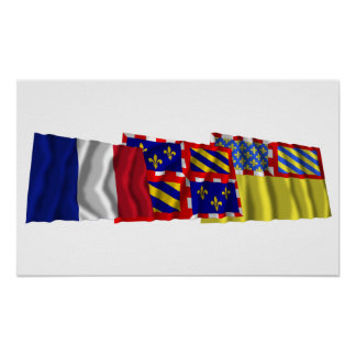 Côte-d'Or, Bourgogne & France flags Poster