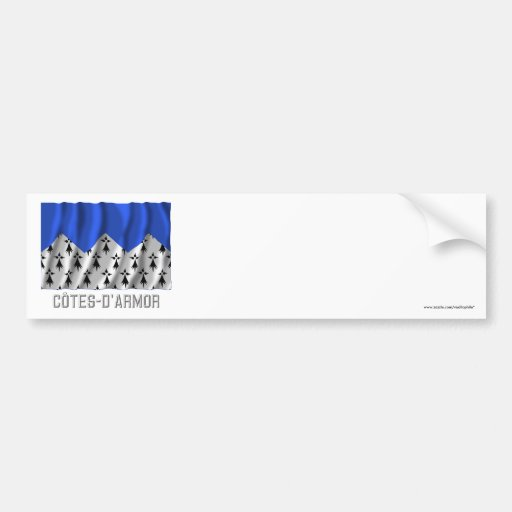 Côtes-d'Armor waving flag with name Bumper Stickers