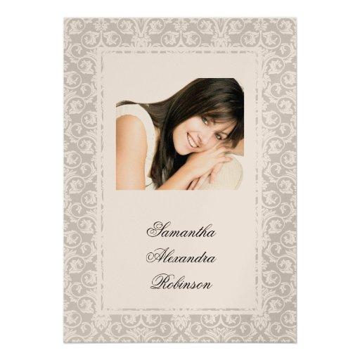 Cotillion Silver Shimmer Damask Photo Invitations