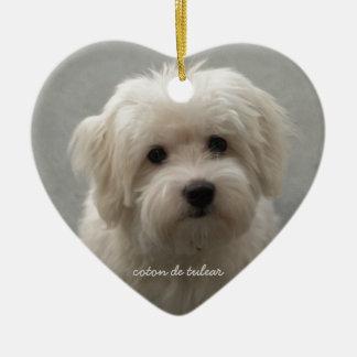 Coton de Tulear Ceramic Heart Decoration