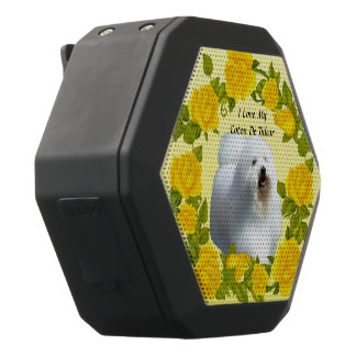 Coton De Tulear with Yellow Roses Black Bluetooth Speaker