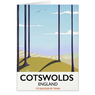 Cotswolds landscape railway travel poster card