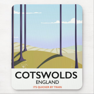 Cotswolds landscape railway travel poster mouse mat