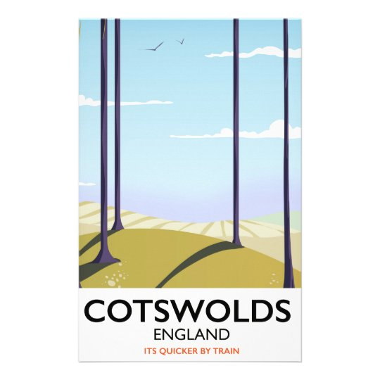 Cotswolds landscape railway travel poster stationery