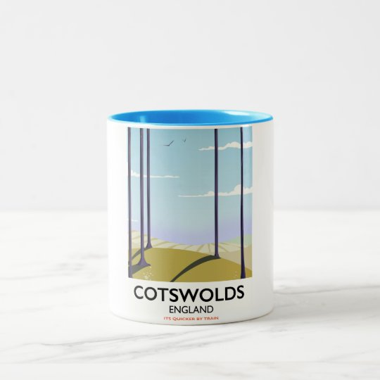 Cotswolds landscape railway travel poster Two-Tone coffee mug