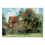 Cottage and Flowers Birthday Card