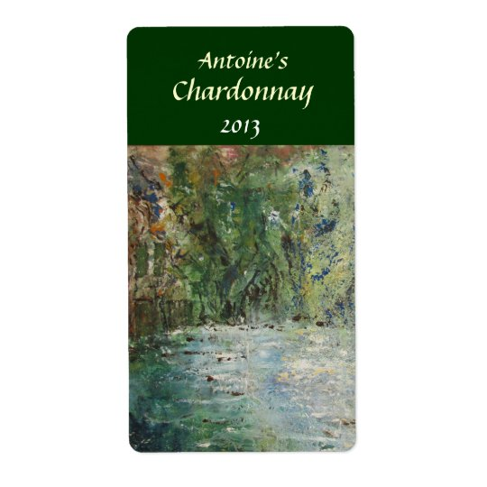 Cottage and Pond Wine Label Shipping Label