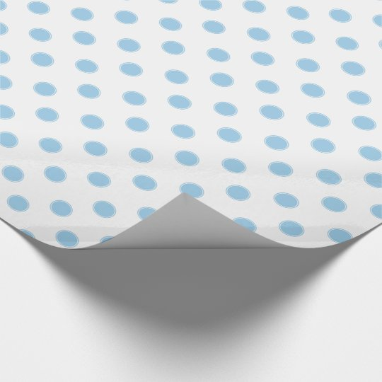Cottage Blue Polka Dots on White Wrapping Paper