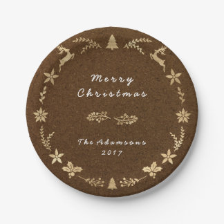 Cottage Brown Kraft Gold Christmas Paper Plate