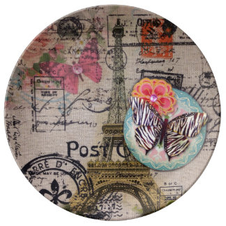 Cottage Chic butterfly scripts paris eiffel tower Plate