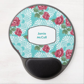 Cottage Chic Lace & Roses Garden Gel Mousepad
