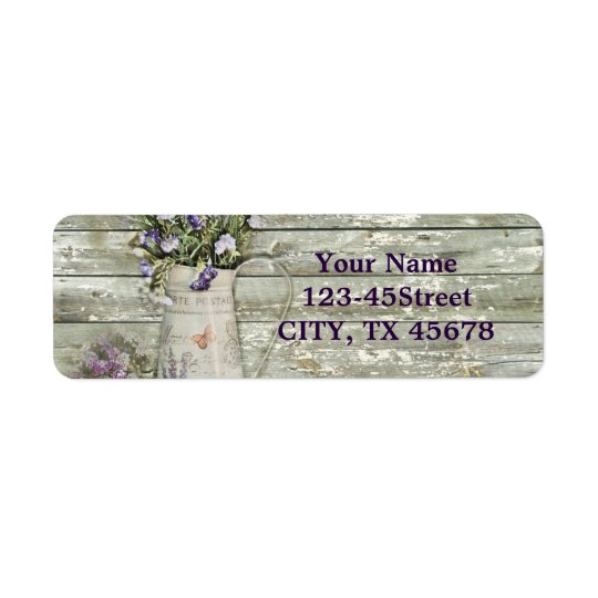 cottage chic lavender rustic barn wood return address
