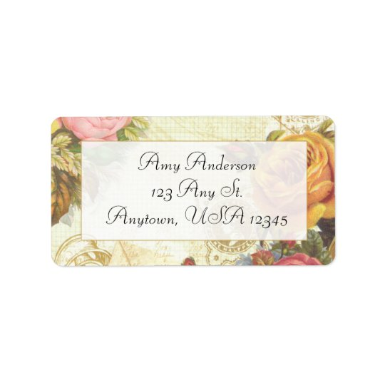 Cottage Chic Roses Address Label