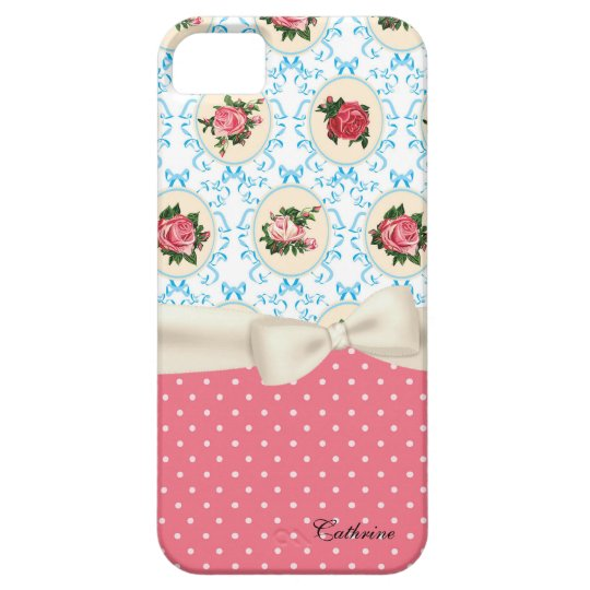 Cottage Chic Roses & Polka Dots Case For The iPhone 5