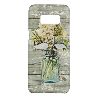 cottage chic rustic mason jar wildflower barn wood Case-Mate samsung galaxy s8 case