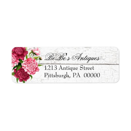 Cottage Chic Rustic Wood and Peonies Address Label