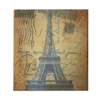 Cottage Chic Scripts Vintage Paris Eiffel Tower Notepad