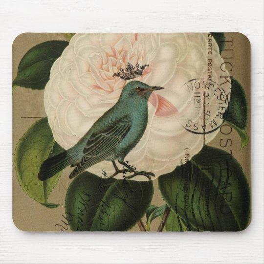 Cottage Chic Vintage Bird french botanical art Mouse Mat