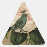 Cottage Chic Vintage Bird french botanical art Triangle Sticker