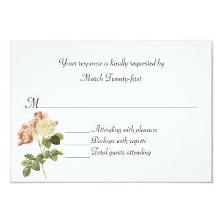 Cottage Chic Vintage Roses Wedding RSVP Card 9 Cm X 13 Cm Invitation Card