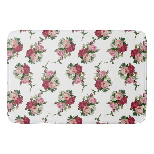 Cottage Chic White, Pink and Red Roses Bath