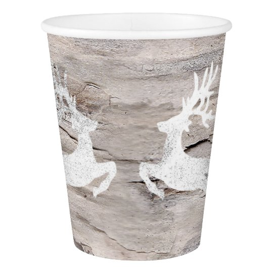Cottage Christmas Silver Gray Pink Reindeer Paper Cup