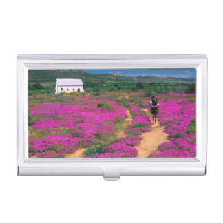 Cottage, Flowers And Girl, Near Kamieskroon Business Card Holder