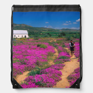 Cottage, Flowers And Girl, Near Kamieskroon Drawstring Bag