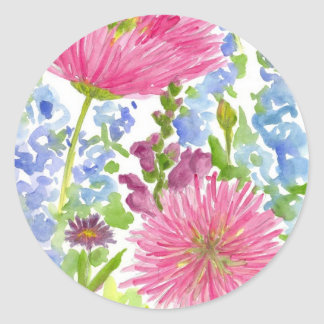 Cottage Garden Dahlia Bouquet Watercolor Flowers Classic Round Sticker