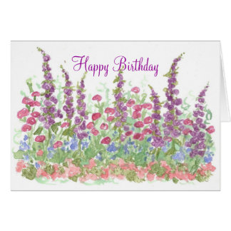 Cottage Garden Happy Birthday Watercolor Garden Card