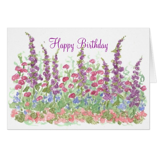 Cottage Garden Happy Birthday Watercolor Garden Card