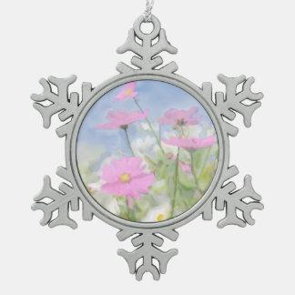Cottage Garden Watercolor Pewter Snowflake Decoration