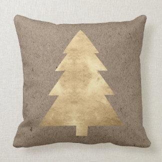 Cottage Golden Christmas tree Kraft Holidays Cushion
