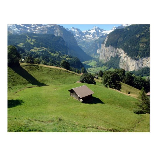 Cottage in beautiful scenic settings in Switzerlan Postcard