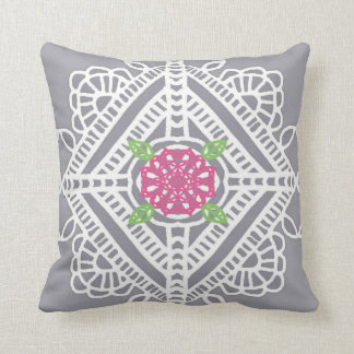 Cottage Lace Print Accent Pillow