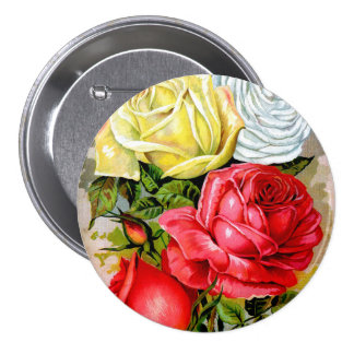 Cottage Rose Garden Pinback Buttons