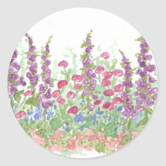 Cottage Spring Garden Watercolor Flower Art Classic Round Sticker