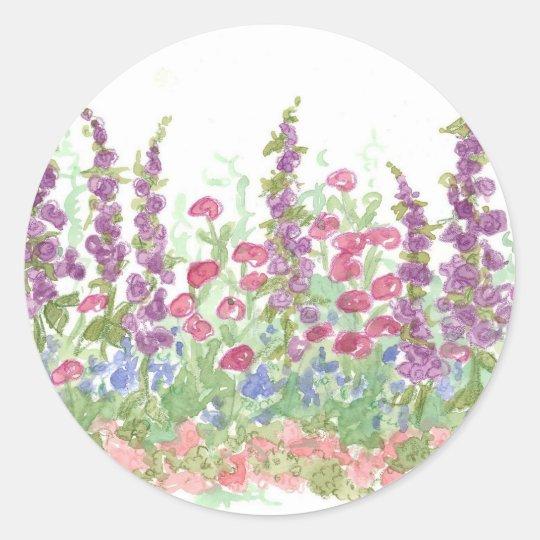 Cottage Spring Garden Watercolor Flower Art Round Sticker