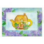 Cottage Teapot Birthday Card Lilac Watercolor