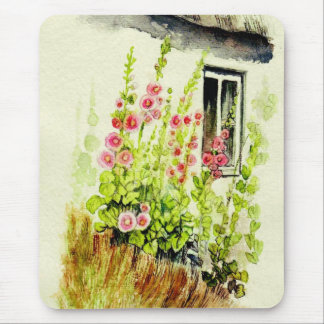 Cottage Window and Delphiniums Mouse Mat