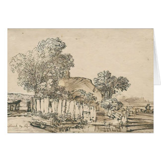 Cottage with wooden fence amid trees by Rembrandt Cards