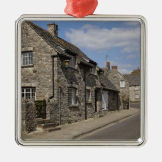 Cottages, Corfe Castle village, Dorset, England, Silver-Colored Square Decoration