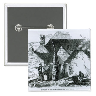 Cottages of the Peasantry in the West of Ireland 15 Cm Square Badge