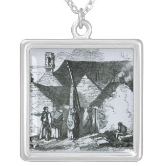 Cottages of the Peasantry in the West of Ireland Silver Plated Necklace