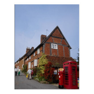 Cottages, old phone box, Kenilworth, Warwickshire, Postcard