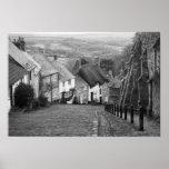 Cottages on a golden hill, Shaftesbury, Dorset, En Poster