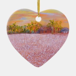 Cotton at Sunset Ceramic Heart Decoration