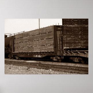 Cotton Belt Railroad Train Flat Car Loaded Tracks Poster
